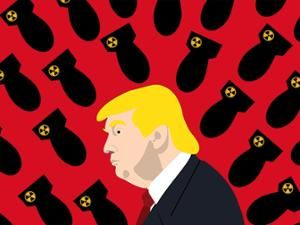 A photo illustration shows a side profile of U.S. President Donald Trump surrounded by black and yellow nuclear warheads on a red background