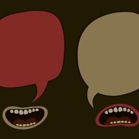 two mouths with empty speech bubbles
