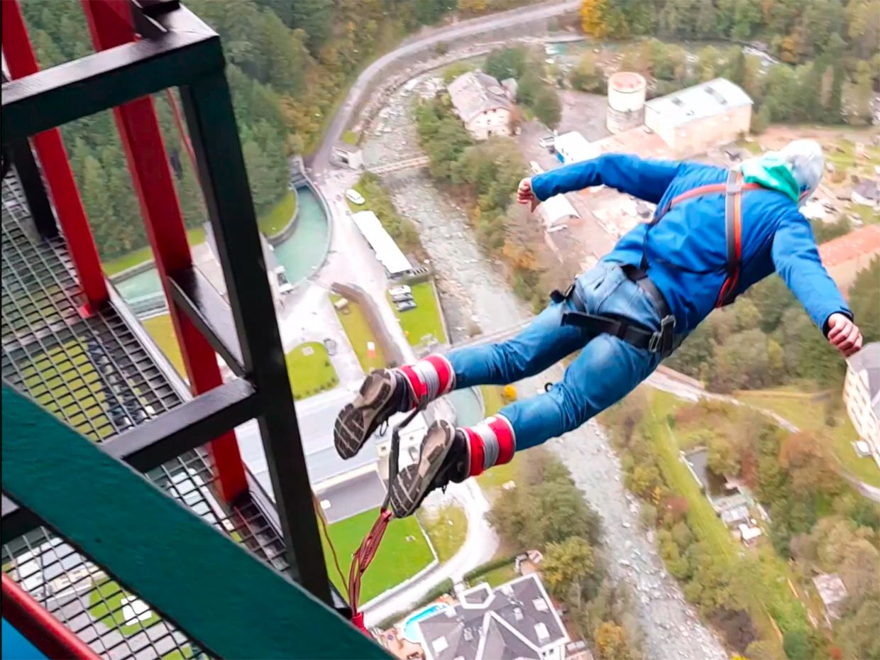 Bungee jumper in action off the Europa Bridge in Austria.