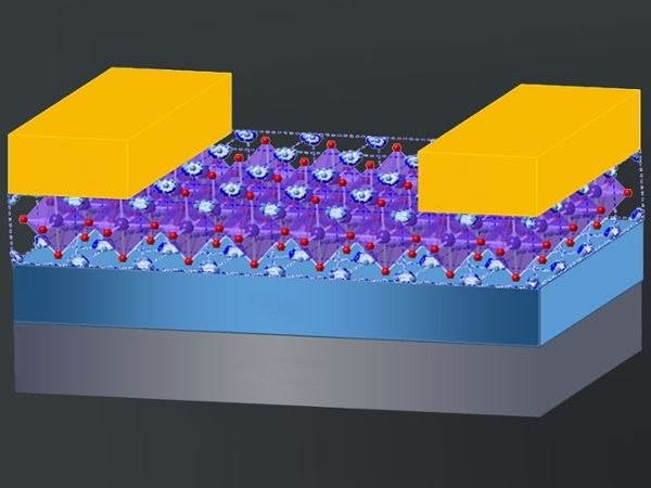 Illustration showing a single-crystal hybrid perovskite that could be integrated into electronics