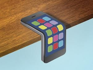 Illustration of a smartphone folding over the edge of a desk