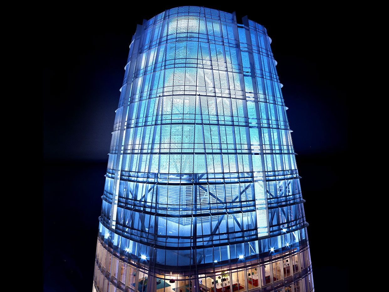 Photograph of Jim Campbell's LED art installation on top of Salesforce tower.