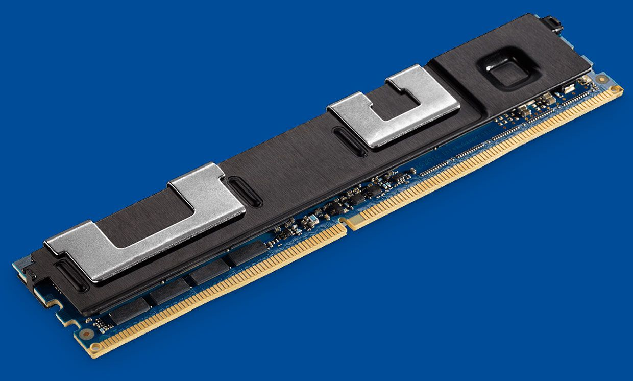 Intel's 3D XPoint DIMM module looks like a thin black stick with many coppery fringes on one side.