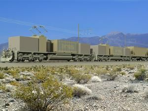 A train on tracks is part of the Advanced Rail Energy Storage project, which stores energy for the electricity grid as the potential energy of a train on a hill.