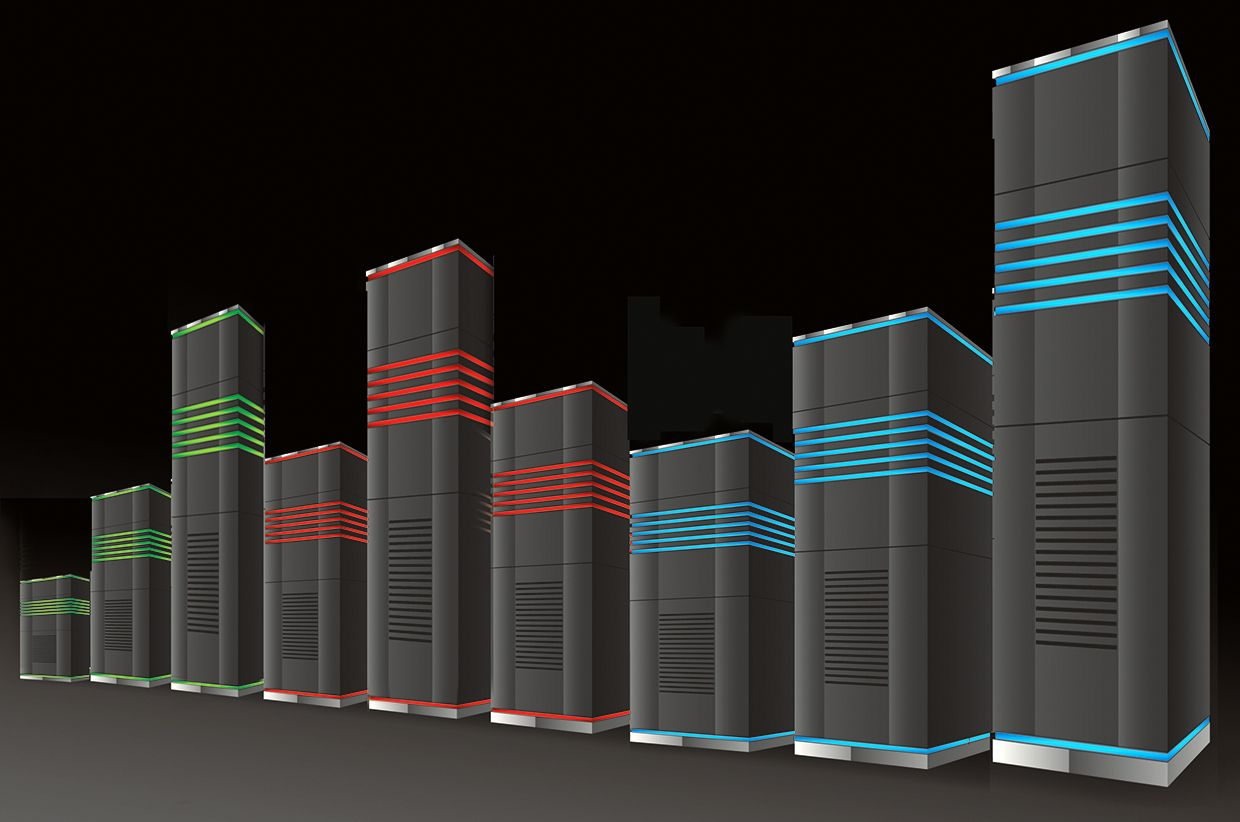 Illustration of supercomputing machines as a bar graph