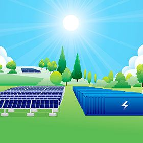 Illustration of solar panels and energy storage in a rural environment.