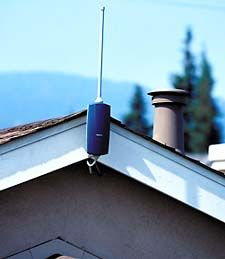 photo of Nokia wireless router mounted on house