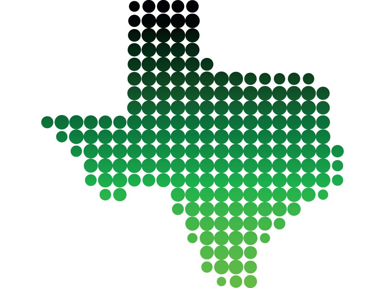 Image of the state of Texas made of different shades of green circles.