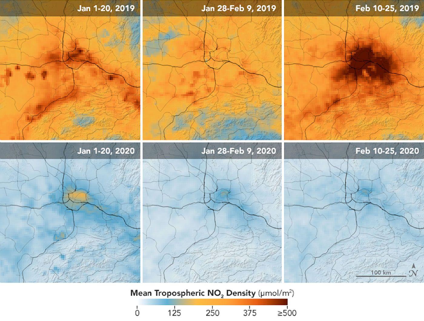 Kirlilik izleme uyduları 1 Ocak - 25 Şubat 2020 arasında Çin üzerinde azot dioksitte (NO2) önemli düşüşler tespit etti.
