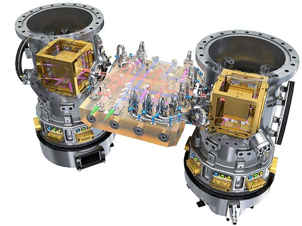 Illustration of the interior of the LISA Pathfinder spacecraft