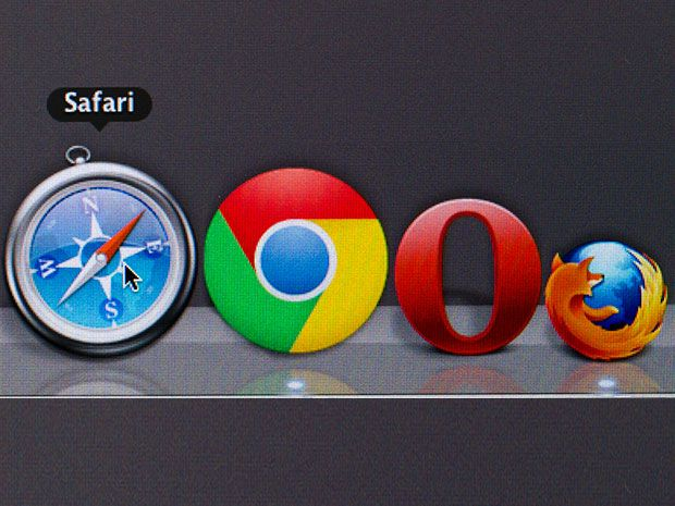 A photo illustration shows the icons that represent several web browsers, incluing Chrome and Firefox, in a row