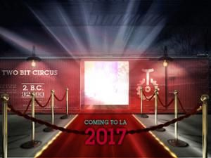 A roped off entrance that says 'Coming to LA 2017'