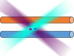 An illustration shows two colored balls between two horizontal cylinders to represent a magnetically-trapped single qubit cooled by a barium-138 ion.