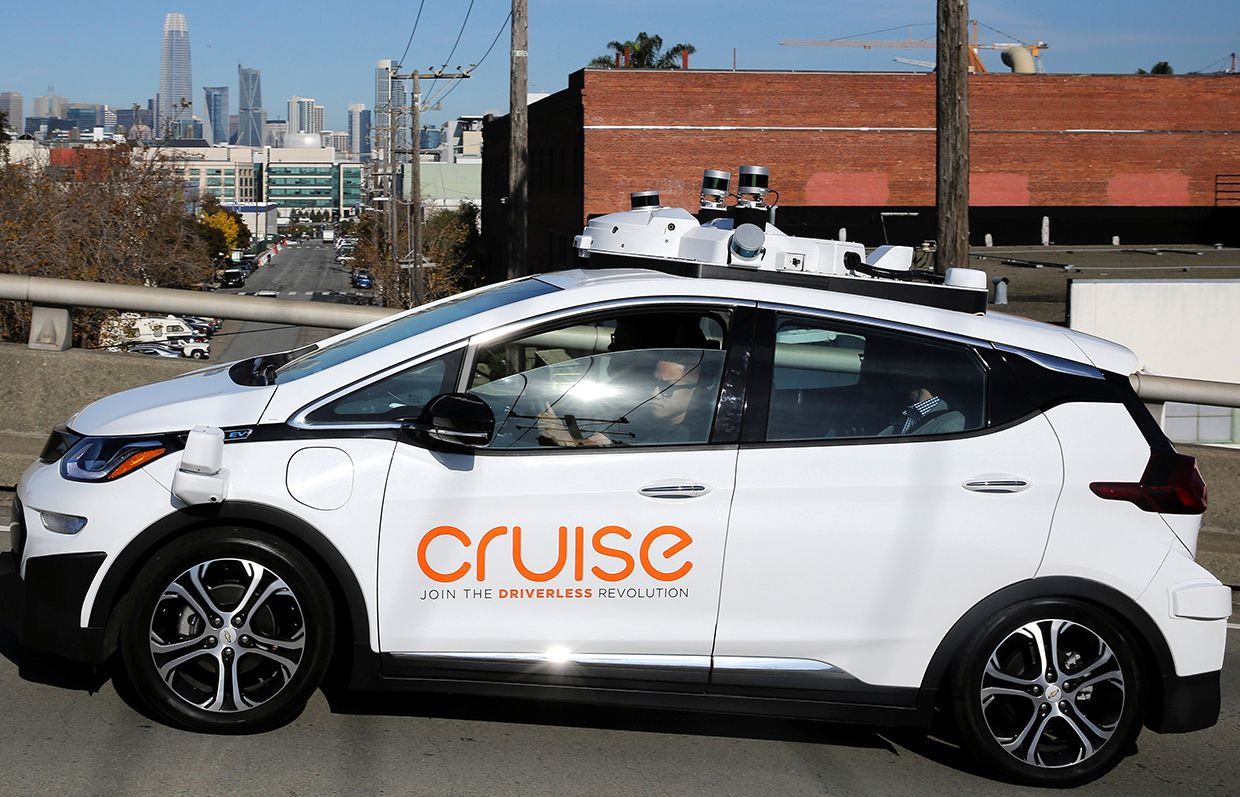 GM and Cruise Automation's Bolt EV self-driving car in San Francisco on November 28, 2017.