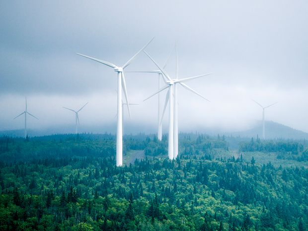 Quebec's wind farms can produce bursts of power to stabilize AC grid frequency