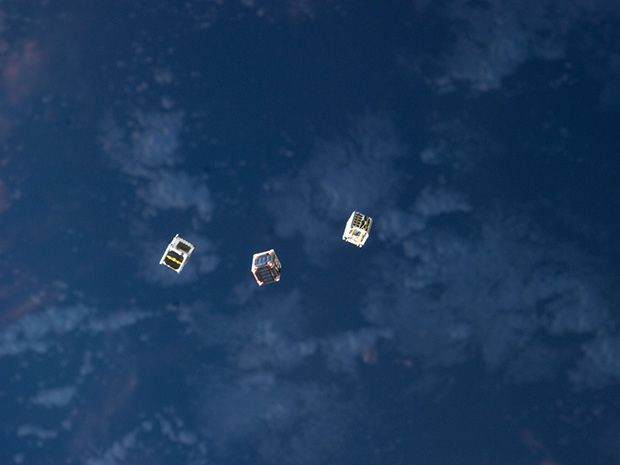 Image of small cube satellites in space courtesy of NASA