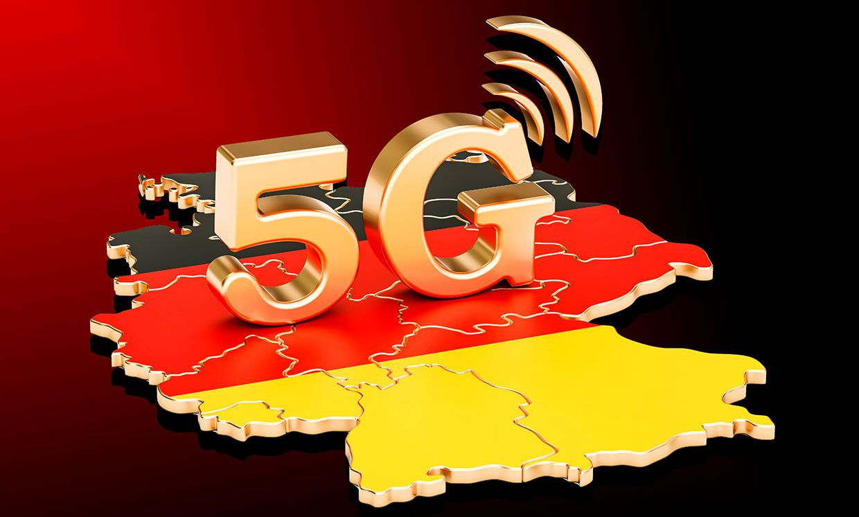 Illustration of the word 5G on a map of Germany.