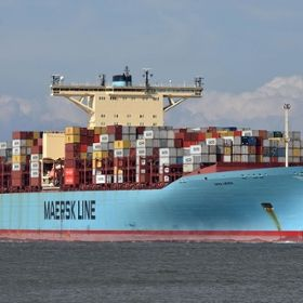 Photo of the Emma Maersk cargo ship.