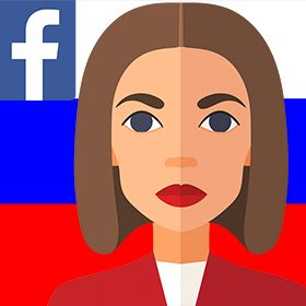 Illustration of a woman in front of a Russian flag with the facebook logo on it.