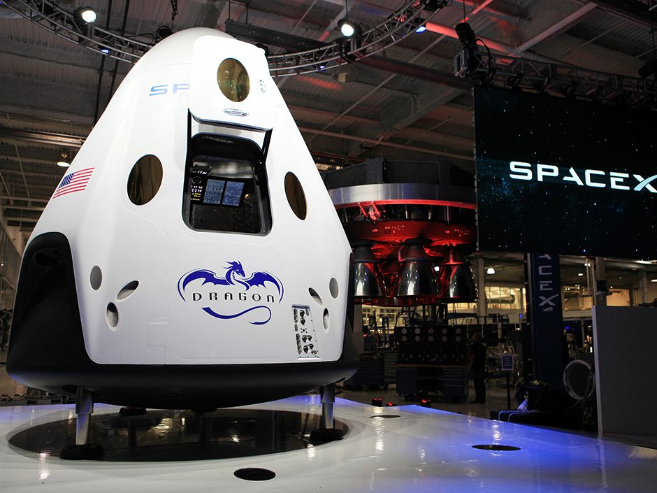 Version 2 of SpaceX's Dragon spacecraft was displayed at the company's Hawthorne, Calif., headquarters prior to its formal unveiling in May 2014.