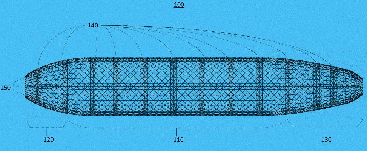 Image from LTA patent showing a large airship frame