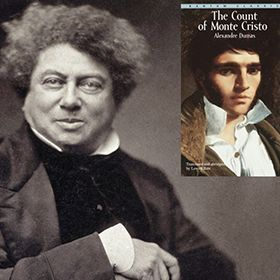 Photograph of Alexandre Dumas with an inset of The Count of Monte Cristo.