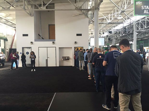 Bathroom lines in Silicon Valley are one measure of diversity, like those shown here at last month's TechCrunch Disrupt event. There is virtually no line for the women's bathroom, while the line for the men's room seems endless.