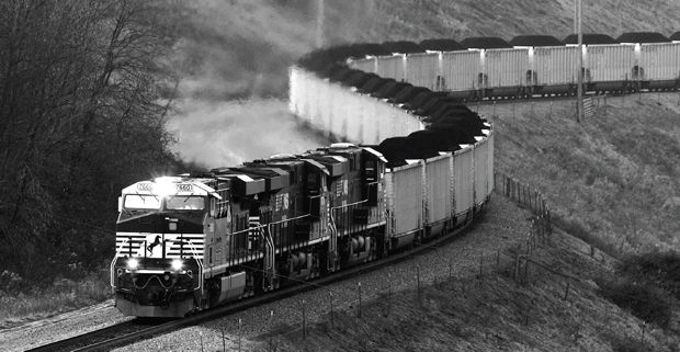 A Norfolk Southern Railway Freight Train Equipped With New Electronically Controlled Pneumatic Ecp Braking System Comes Down Mountain It Is The