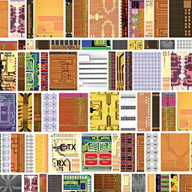 Mosaic of die images of work funded by DARPA
