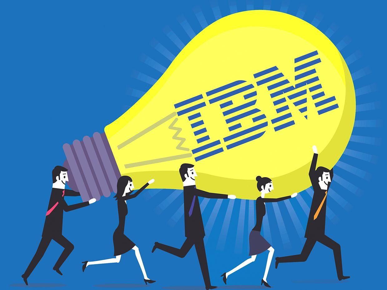 Illustration of a group of people holding a lightbulb, with the IBM logo in the center of the lightbulb