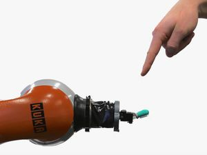 Kuka robot arm with BioTac sensor for human-robot interaction research