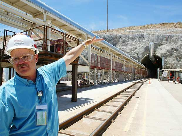 Geologist John Hartley at the entrance to the Yucca Mountain Nuclear Waste Repository in Nevada. | Location: Yucca Mountain, Nevada, USA. May 14, 2002