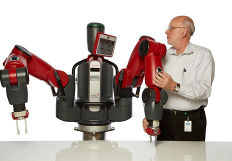 "bad boy: Rodney Brooks, who has been called the ""bad boy of robotics,"" is back with another disruptive creation: a factory robot to help workers become more productive."