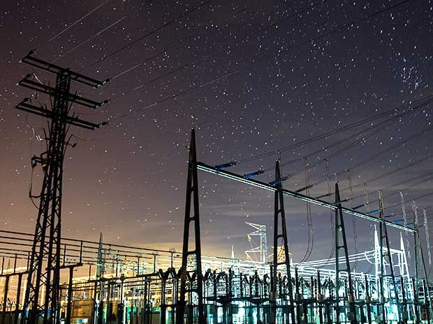photograph of transmission lines