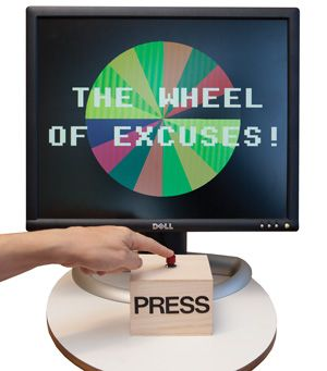 photo of monitor showing the wheel of excuses