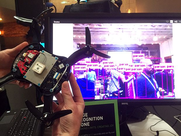 Teal's smart drone uses the Nvidia Jetson module to identify what its cameras see, attaching labels in real time to, in this demo, people