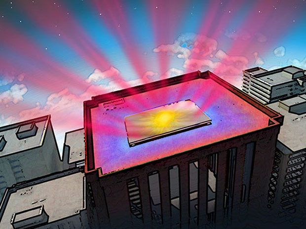 A cartoon building with a rectangle on the roof reflecting the sun and beaming out read rays.