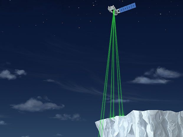 A flying satellite with several green beam projecting down to a cliff of ice