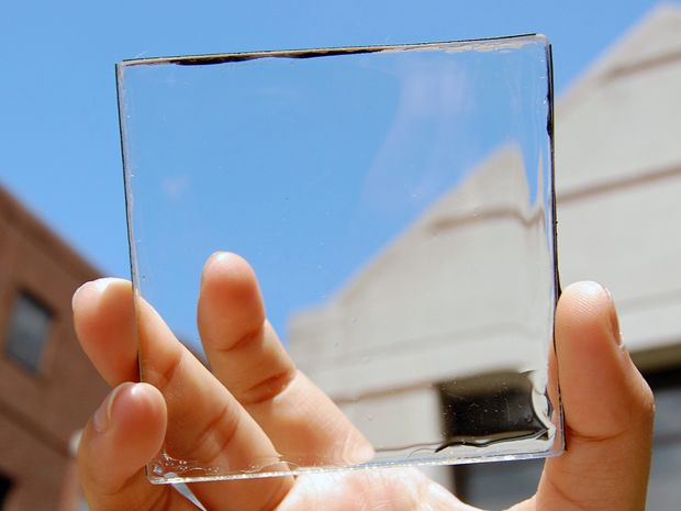 Placa solar transparent