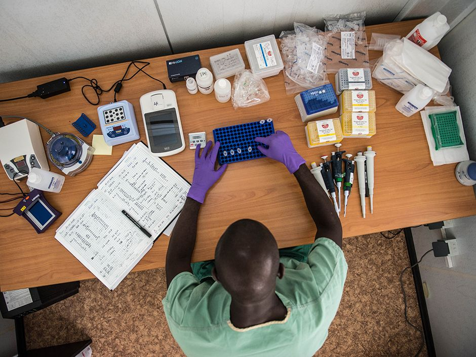 During the West Africa Ebola outbreak, researchers tried out a mobile genetics lab that allowed them to study the Ebola viruss genome on the ground in Guinea.