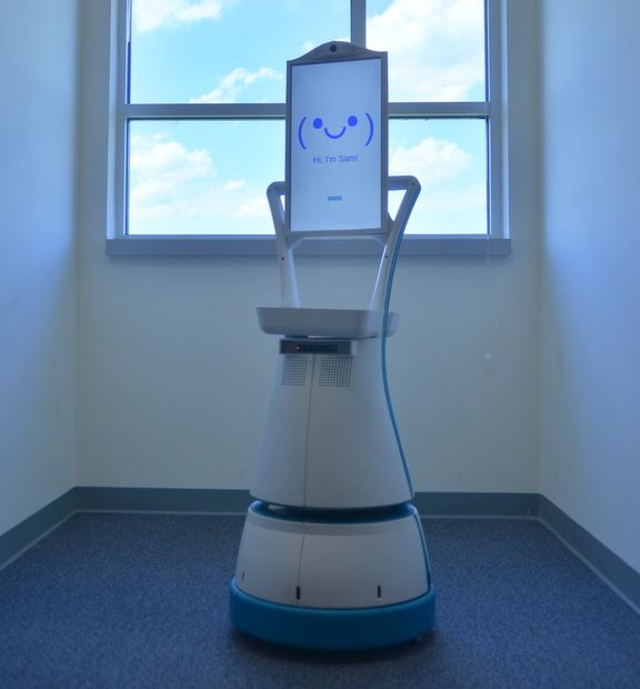 Luvozo's SAM robot is designed to assist staff at senior living facilities
