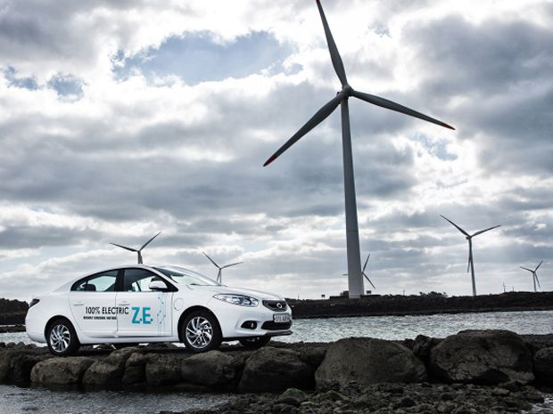 electric car parked in front of wind turbines