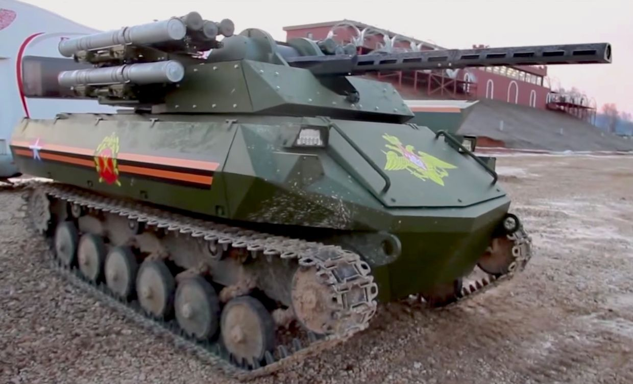Russia's Uran-9 is an unmanned tank remotely controlled by human operators.