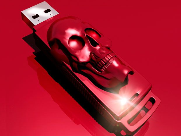 USB thumb drive with skull