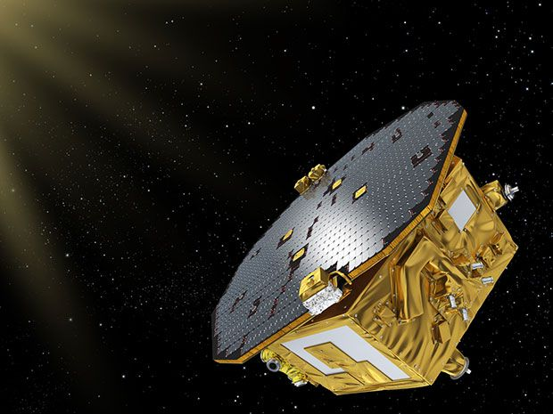Illustration of LISA Pathfinder in space