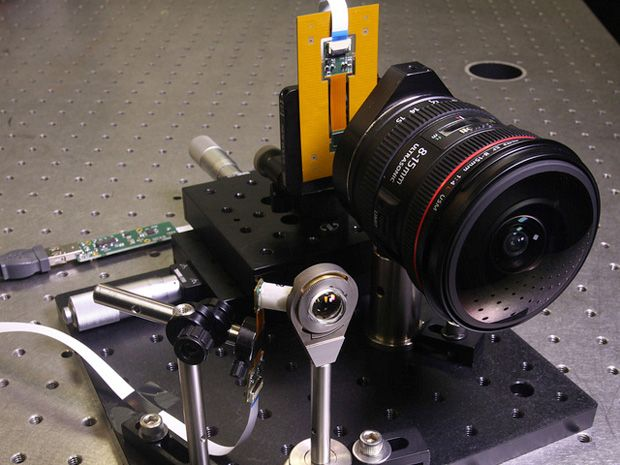 Fiber-coupled monocentric lens camera (left) next to the much larger Canon EOS 5D Mark III DSLR, used for conventional wide-angle imaging.