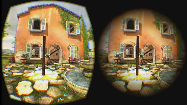 Virtual reality scene from a Tuscan village simulation