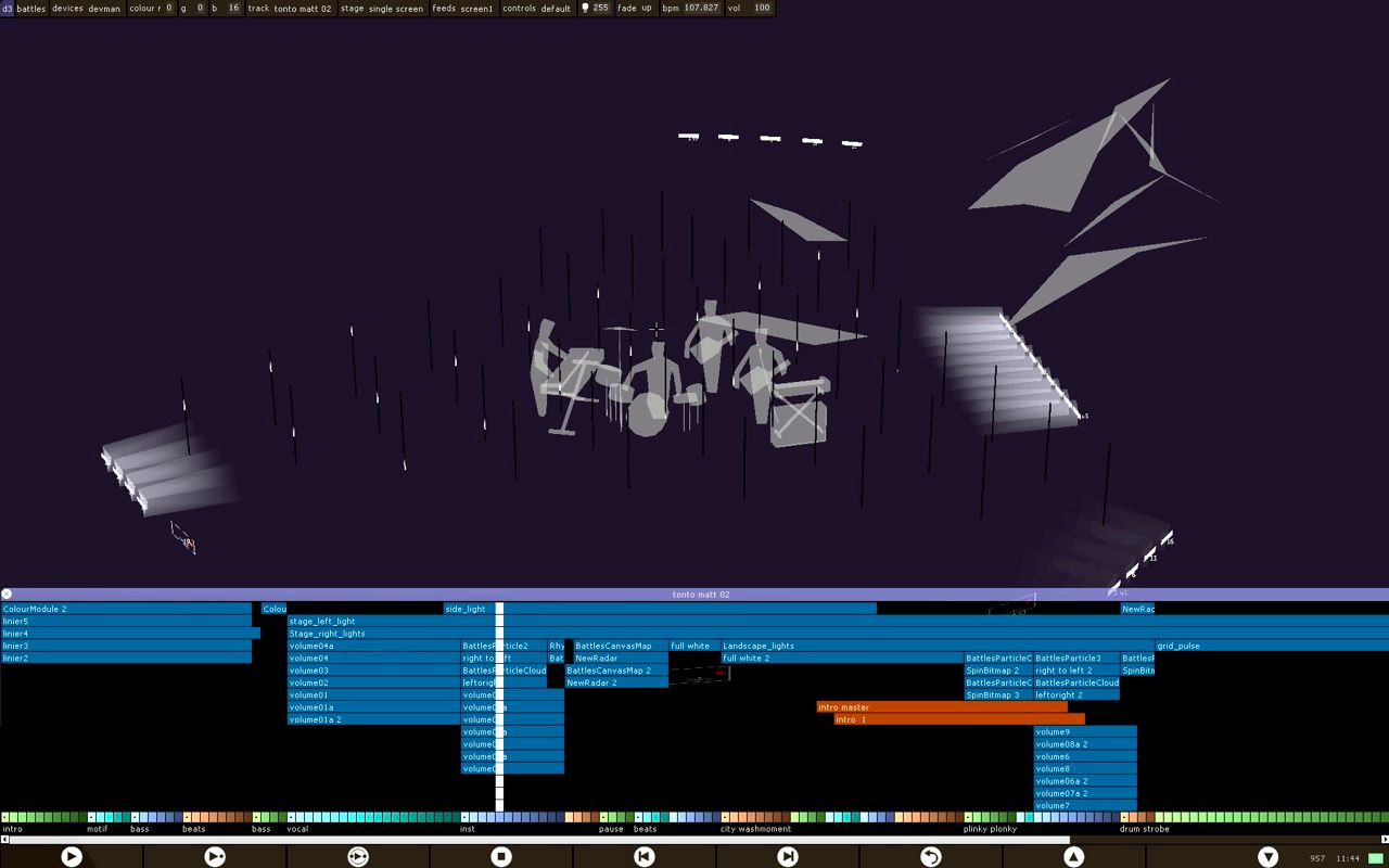 To simulate their installations, UVA uses a proprietary program called D3, created by the company's software director, Ash Nehru. This screen shot shows the setup for the Battles music video. On-screen a designer has sketched the outlines of the slate mine where the video will be filmed and has positioned the performers and the LED lights within it.