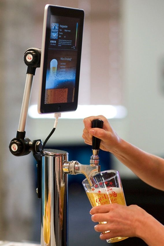 Yet another example of what happens when beer and technology collide was recently introduced at the San Francisco offices of Yelp, an online local business directory. Yelp employees have linked a beer keg to an iPad, creating a robot that can keep track of how much each worker has dispensed, monitor the beer's temperature, and display how much is left in the keg.
