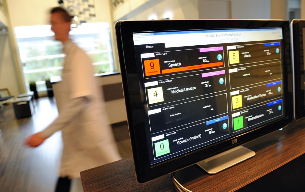 This computer screen at the Dutch Royal Philips Electronics Hospital in Eindhoven, Netherlands, allows medical personnel to monitor the conditions inside each hospital room. The facility, which opened last month, was created to study just how much patient-friendly environments, where light, sound, and video are tailored to the individual, can accelerate the healing process.